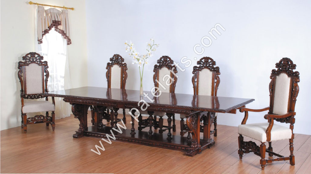 Wooden Dining Tables, Carved Dining Sets, Dining Table Sets, Carved Wood Dining Sets, India, Table Designs, Dining Room Furnitures, Wooden Furnitures, india, Wood Dining Chairs, Dining Room Set, Dining Chair, Wood Chairs for Dining Table
